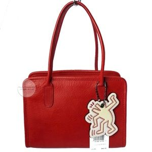 Coach Dinky Bag Small Tote #9690 Red Leather
